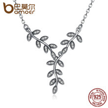 BAMOER 925 Sterling Silver Sparkling Leaves Long Pendant Necklace, Clear CZ Women Pendants & Necklaces Jewelry PSN008(China)