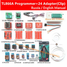 V6.6 Original TL866A Universal minipro programmer+24 adapters+IC clip Clamp TL866 AVR PIC Bios Programmer Russian English manual(China)