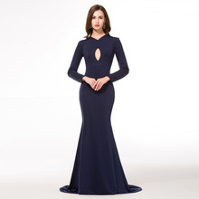 Robe Oriental Arabe Navy Blue Evening Dresses Long Sleeve Arabic Elegant Turkish Women Clothing Prom Gowns Indian Saree