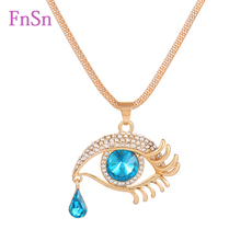 Eye Pendant Necklaces Women Long Necklace Crystal Gold Colour Zinc Alloy Charms Necklaces Jewelry Hot Sale2017New Fashion Gift(China)