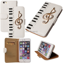 DIY Luxury Leather 3D Piano Keys Musical  Bling Crystal Case Cover For iPhone 4 5 5s 6 6Plus For Galaxy S3/4/5/6 Note 2 3 4 Mini