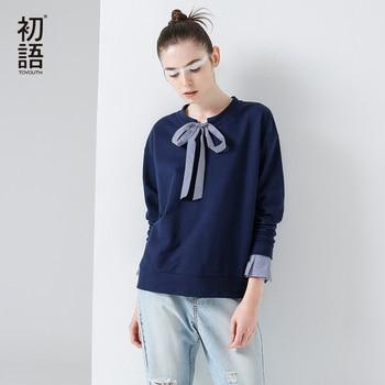Toyouth camisetas 2017 mujeres del resorte patchwork bowknot de la vendimia de la raya ocasional de manga larga fake dos piezas tees tops