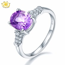 Hutang Solid 925 Sterling Silver Natural Gemstone African Amethyst Classic Wedding Ring Fine Jewelry For Presents Gift Christmas(China)