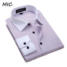 2017 New white collar Dress shirt men's long sleeved striped bussines casual foramal shirts men spring and summer large size(China)
