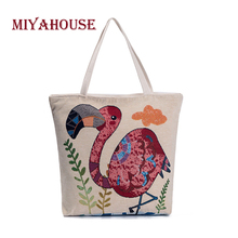 Miyahouse New Design Women Canvas Tote Lovely Flamingo Print Beach Bag High Capacity Female Single Shoulder Shopping Handbags(China)