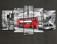 Frame 5 Pieces Modern Wall Art Canvas Printed Painting Wall Pictures For living room Modern City Painting Red Bus HX-037