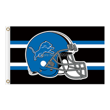 Blue Helmet Disign Detroit Lions Flag Team Super Bowl Champions 3ft X 5ft Banner World Series Lion Flag Banners(China)