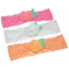 3pcs/lot Stretchy Lace Headband With Fabric Felt Flower Lovely Girl Hairband Handmade Boutique Chic Hair Accessories FD239