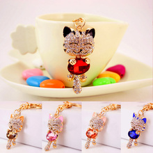 LNRRABC Cat Bag Keychain Cute Crystal Rhinestones Women Handbag Charm Metal Key Chains Key Rings Pendant bunny keychain