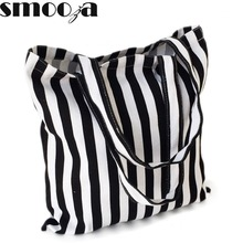 SMOOZA women Canvas striped bags New Fresh Style cotton Shoulder Printing Beach Bags Shopping bag Totes Handbag black with white