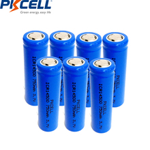 7pcs pkcell lithium battery ICR14500 14500 3.7v li-ion rechargeable battery with 750mah For LED Flashlight