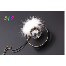 New Fashion Hot Now Big Crystal Statement With White Fur Chain Necklace & Pendant Women Gift Black Leather   Jewelry