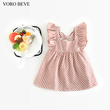 VORO BEVE 2017 Baby Girl Sun dress Spring And Summer New Cute Dress Girls plaid dress Dress Fashion Kids Clothes Girls