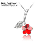 BOGENA JEWEL Silver Flower Necklaces Pendants with High Quality Austria Crystal SWA Element For Women Birthday Gift(China)