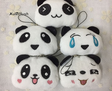ALL 5Faces, Kawaii NEW 5CM approx. small Panda Plush Stuffed Toys - cute Pendant little panda plush toys dolls(China)