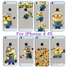 New Super Hot Despicable Me Yellow Minions Designs For Apple iPhone 4 4S Case Hard Transparent Cover For iphone4S 4
