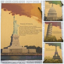 Europe and the United States to restore ancient ways building the statue of liberty, the Leaning Tower of Pisa retro posters(China)