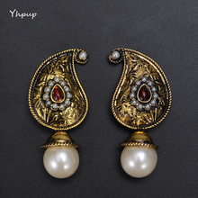 Yhpup European Brand Noble India Vintage Retro Antique Imitation Pearl Drop Statement Earrings Bijoux Women Party Earrings Gift(China)