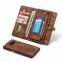 CASEME For Samsung Galaxy S7 Edge G935 Wallet Case Split Leather Zipper Bag Multi Slot Case for Galaxy S7 Edge Magnet Back Cover