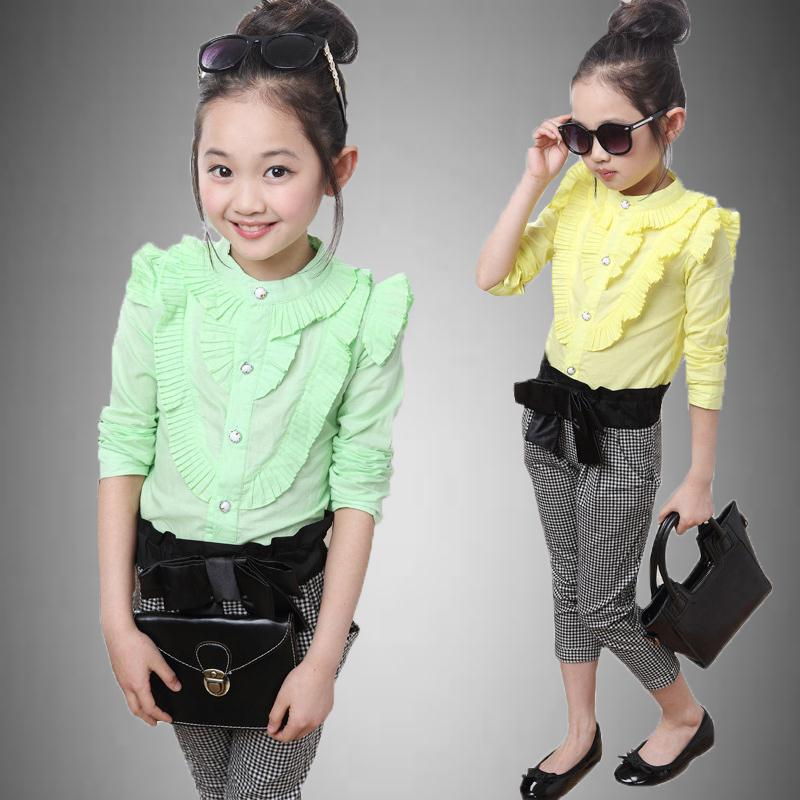 Girls Clothes 2017 New Fashion Girls Clothing Sets Include Blouse+Pants 2 Pieces Casual Girl Set 042Z<br><br>Aliexpress