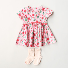 Girl pink dress 2017 kids summer dresses cotton watermelon dress for girls clothes cotton baby girls clothes children