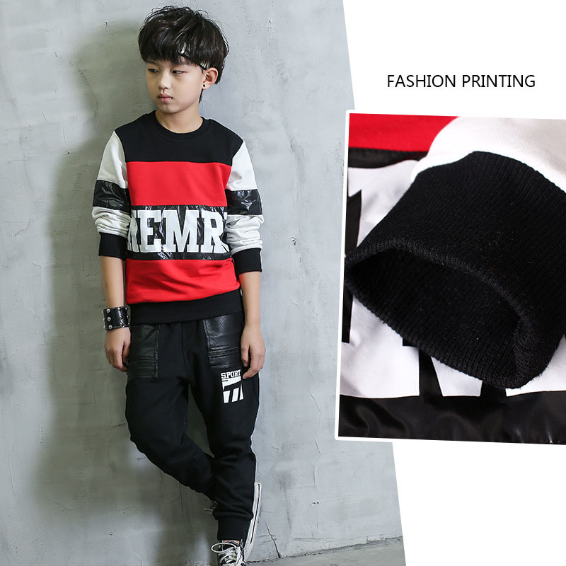 kids hip hop clothing sets for boy little teenage boys clothes set spring autumn striped sweatshirts tops long pants suits 2017 <br><br>Aliexpress