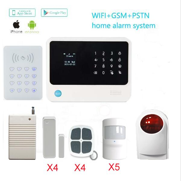 Home security gsm wifi alarm system with wireless RFID keypad function alarm gsm+433Mhz outdoor sirens+Wireless signal repeater(China (Mainland))