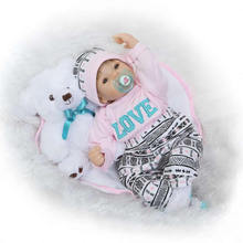 New Soft Silicone Newborn Baby Doll 22'' Realistic Suck Pacifier Reborns 55 cm Safe Lifelike Baby Dolls For Children ifts Toy
