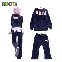 2015 Spring Autumn Girls Tracksuit Twinset Casual Long Sleeve Zipper Hoodie and Sport Pants Embroidery Pink Velvet Clothing Set(China)