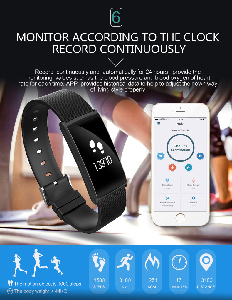 Fitness Tracker Smart Bracelet Blood Pressure Blood Oxygen Heart Rate Fatigue Monitor Wristband Sports Smartband for Phones 7