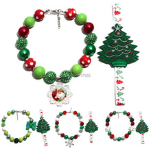 Vcmart 1set Children Christmas Bubble Gum Necklace with Christmas Tree Headband Vintage Girls Cosplay Party Dress Accessory