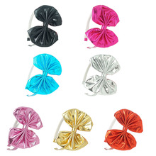 30 Pcs/lot Fashion Solid Metal Color Fabric Hairband For Kids Girls Handmade Bow Hairband With Teeth Children Hair Accessories