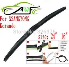 "Free shipping car wiper blade for SSANGYONG Korando Size 24"" 16"" Soft Rubber WindShield Wiper Blade 2pcs/PAIR deflector window"