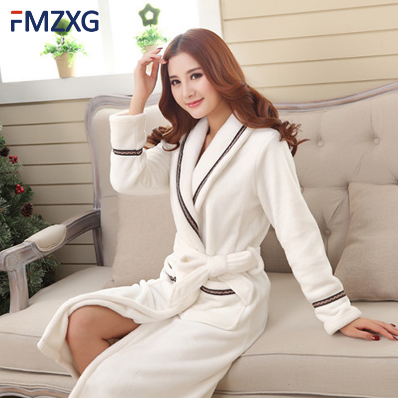 women's elegant long white gown with long white polyester cloth and bath robe Women's spring Sleep and  Loung couple nightgown