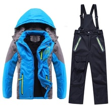 Winter Warm Waterproof Baby Boys Girls Climbing Clothing Sets Child Coat Pant Children Outerwear Kids Sets 3-12 Years Old
