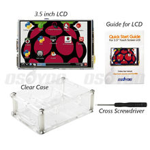 "3.5"" LCD TFT Touch Screen Display with Stylus for Raspberry Pi 2 Pi 3 + Acrylic transparent Case Free Shipping(China)"