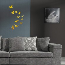 11pcs/lot New Wall Acrylic Wall Sticker Stickers Home Party Wedding Decor Modern Large 3D Fashion Flying Birds Mirror Sticker