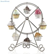 Sweettreats 8-Cup Metal Rotating Ferris Wheel Cupcake and Dessert Stand Holder, Chrome Finish, Updated Larger Cup Size