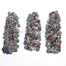 Free Express DHL&EMS 600Pcs/Lot Mixed Flowers Shaped Rhinestone Gingers Snap Button For Making Charm Bracelet 12MM DIY Jewelry