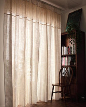 American Country Style Beige Cotton Linen Plaid Splice Hollow Lace Chechet Living Room Curtian Finished Curtain  180cm Width