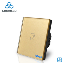 Cnskou EU 1Gang 1Way 110V-250V Wireless Remote Touch Switch Gold Crystal Glass Panel Wall Touch Sensor Switch Factory