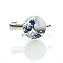 Art picture Silver Plated hairgrips The Great Wave at Kanagawa Japanese Asian Nautical Ocean Sea Go Surfing hair clip pins T188