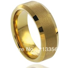 Buy Discount Sales USA HOT Selling 8MM Men&Women's New Golden Brushed Beveled Tungsten Wedding Rings - Top Fine Jewelry World ( and retail jewelry store store)