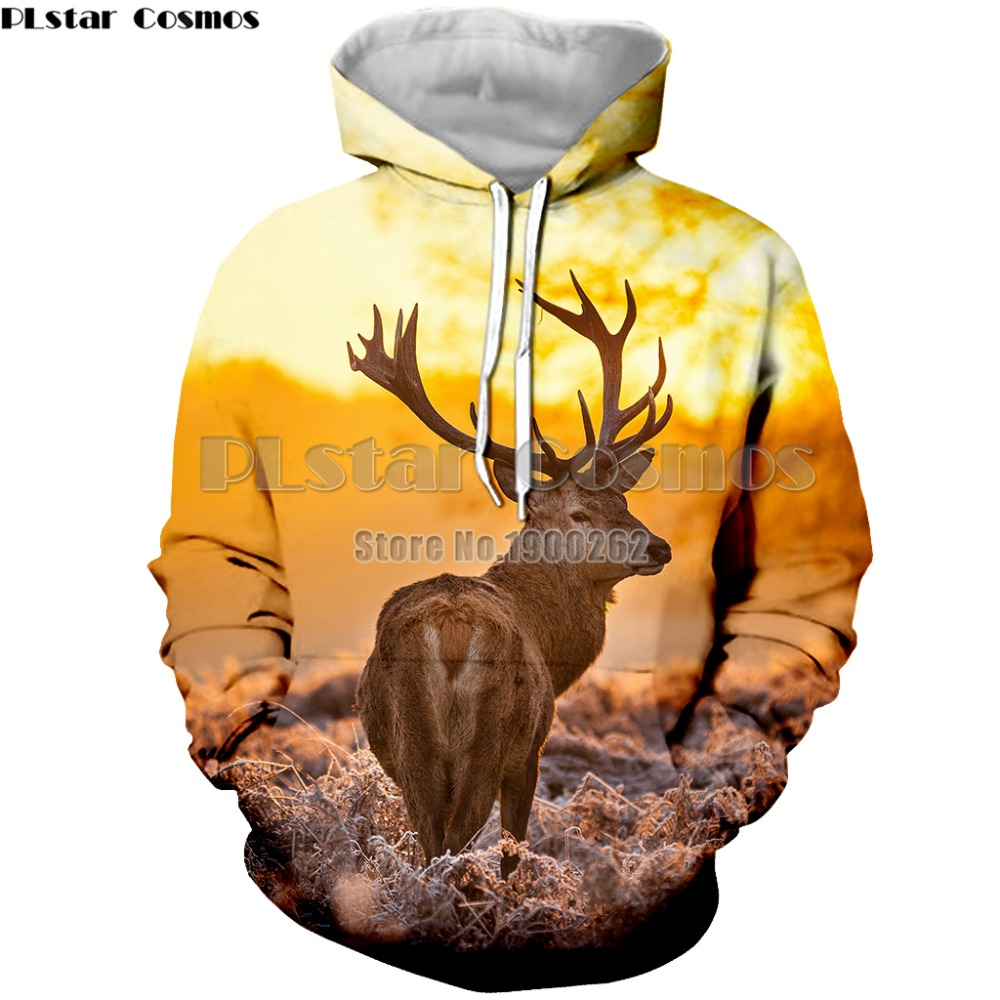 PLstar Cosmos Fashion Animal style deer cute natural scenery Man Women Top hooded pullover Hoodies Men's/women 3d Print
