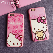 Cartoon Hello kitty Silk TPU soft pink color frame case For iphone 7 6 6S Plus 5 5s SE phone case back cover For iphone 8 8plus(China)