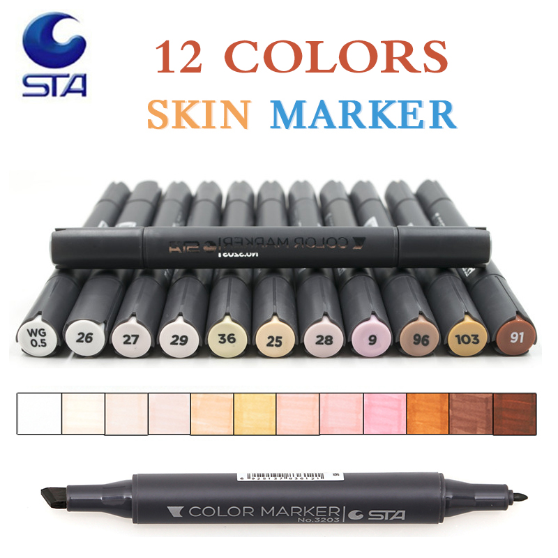 STA Student Supplies 12 Colors Sketch Skin Tones Marker Pen Artist Double Headed Alcohol Based Manga Art Markers brush pen