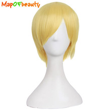 MapofBeauty 12 inch 30cm synthetic wigs Yellow Men Short straight hair Nautral Cosplay Heat Resistant Costume Party peruca(China)