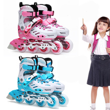 Kids Inline Skates Shoes with Adjustable Size Patines Age 3 4 5 6 7 8 9 10 11 12 13 years old Outdoor Sports Skating Activities(China)