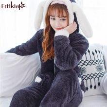 Fdfklak Cartoon cute pajamas for women long sleeve flannel winter pyjamas  women home suit warm sleepwear pajama pijamas sets b860107d5