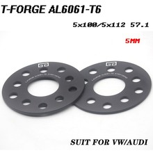2PCS Alloy Aluminum Wheel Spacer Of The PCD 5x100/5x112 mm HUB 57.1mm 3/5/8mm Thickness Wheel Adapter suit for VW AUDI Universal(China)